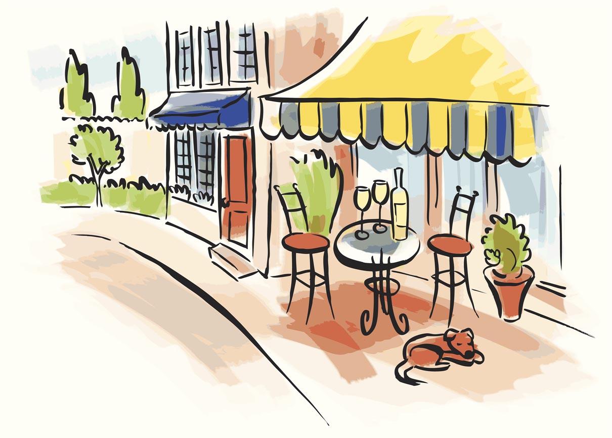 dessin Bar bistro-terrasse