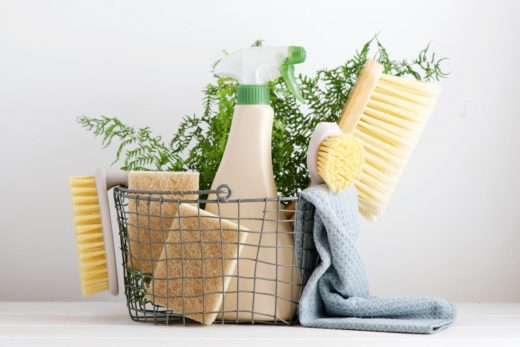 Eco Brushes, Sponges And Rag In Cleaning Basket